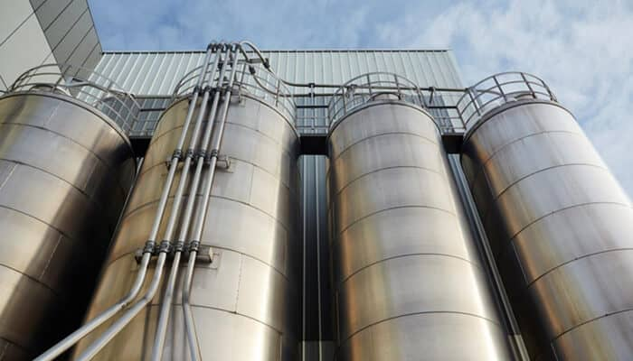 Silos outside the plant's weighing center storing raw materials